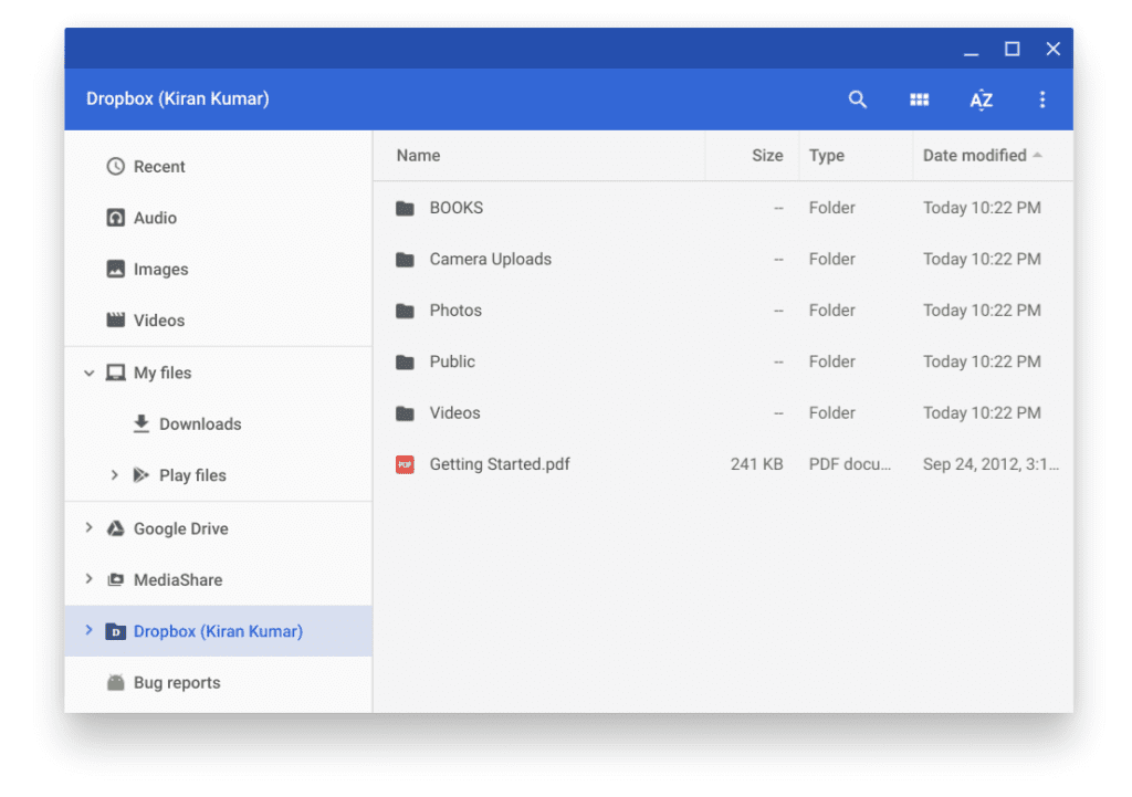 Dropbox added to the Files App