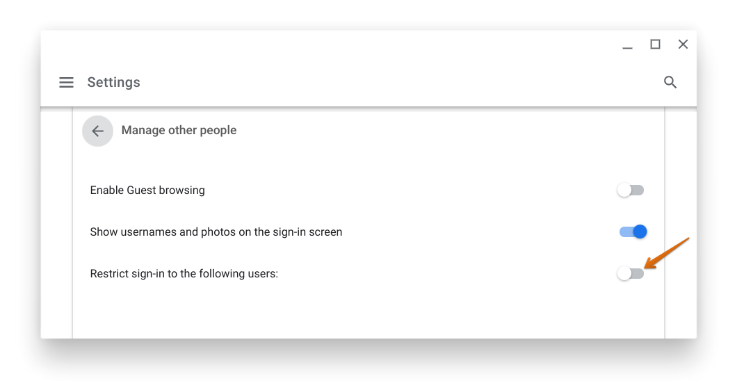 Disable Restrict sign-in