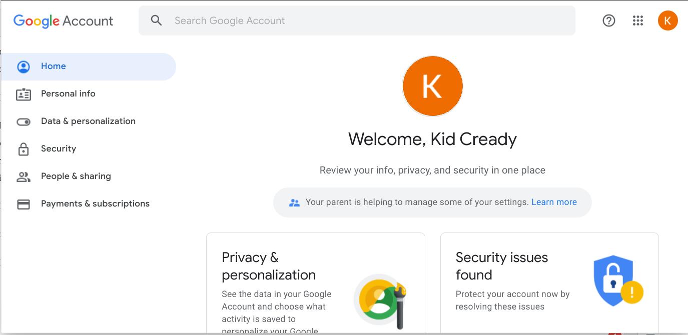 Kid Account Created
