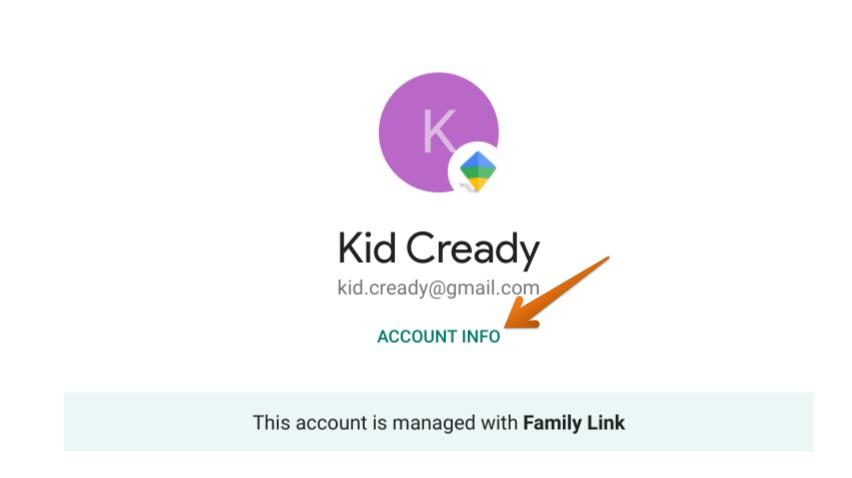 Kid's account Info
