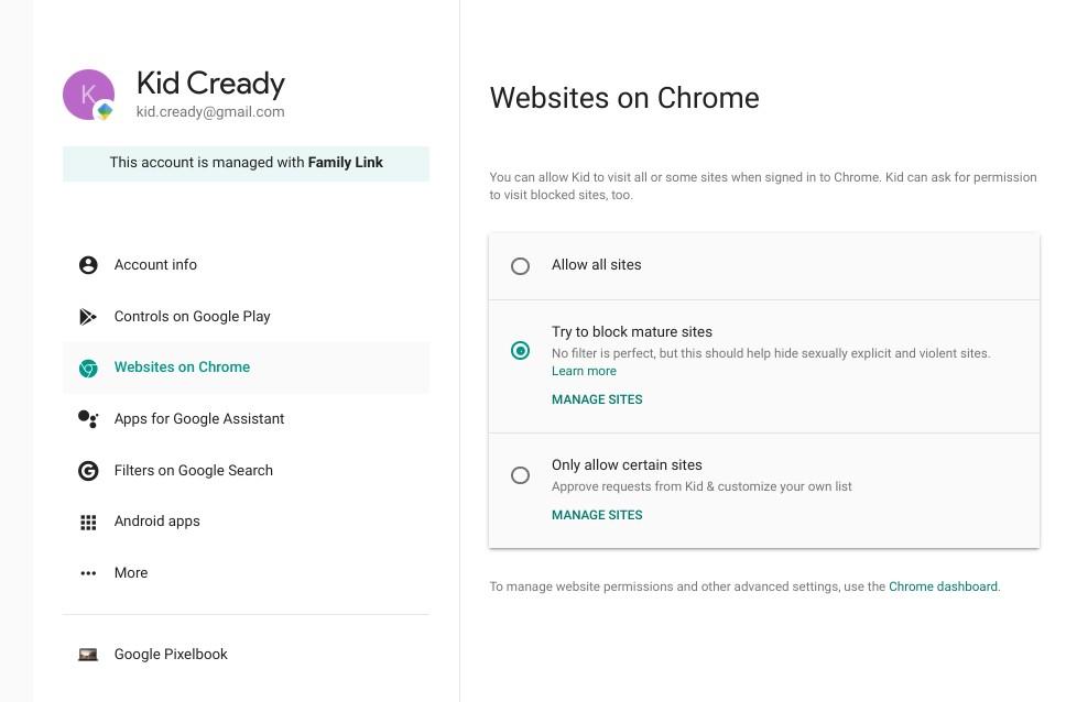 Websites on Chrome
