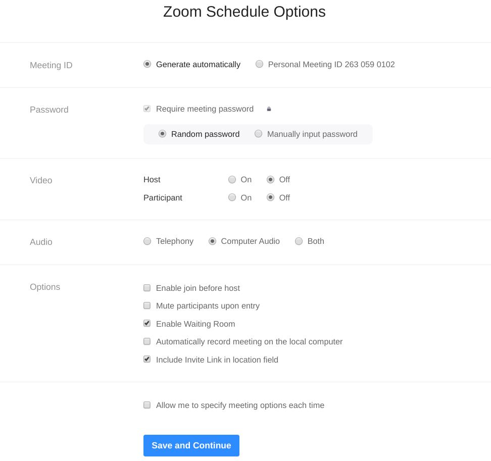 Zoom meeting scheduler